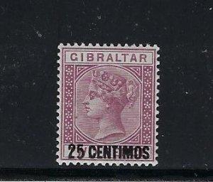 GIBRALTAR SCOTT #24 1889 SURCHARGE 25 C ON 2 PESETAS -WMK 2 - MINT LIGHT HINGED