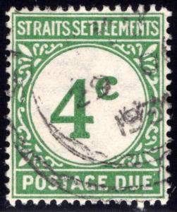 J3 Straits Settlements, 4c green, Postage Due, 1926, Used, VF