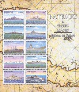 Burkina Faso - 1999 Warships - 10 Stamp Sheet - Scott #1133