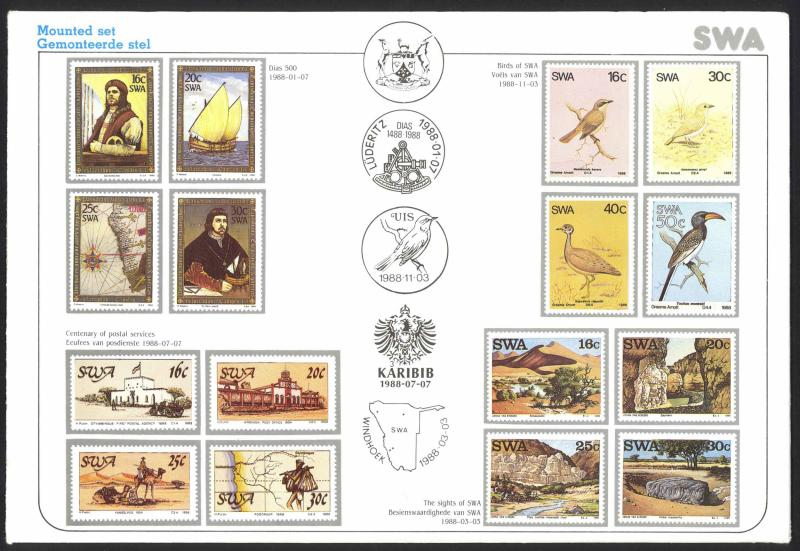 South West Africa Sc# 594-609 MNH 1988 Complete Year Set in Folder