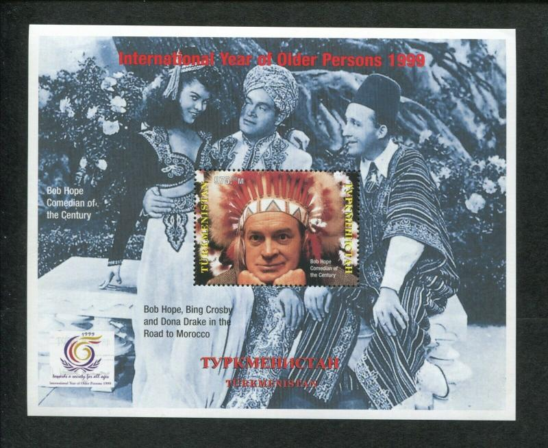 Turkmenistan Commemorative Souvenir Stamp Sheet Bob Hope Bing Crosby Dona Drake