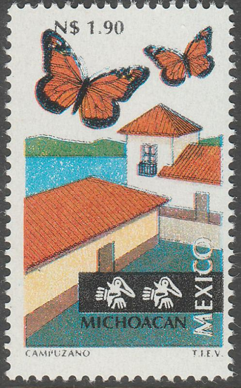 MEXICO 1790 N$1.90 Tourism Michoacan, butterflies. Mint, Never Hinged F-VF.