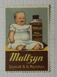 Maltzyn Malt Nutritional Extract German Brand Poster Stamp Ads