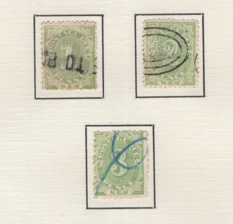 New South Wales 1891-2 Postage Due Stamps Scott J2-J4 F