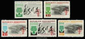 Dominican Republic Scott B31-B33, CB19-CB20 Mint never hinged.