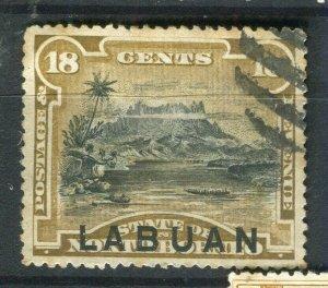NORTH BORNEO LABUAN; 1890s classic Pictorial issue fine used 18c. value