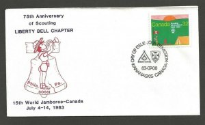 1983 Canada Scouts XV World Jamboree FDC SOSSI Liberty Bell