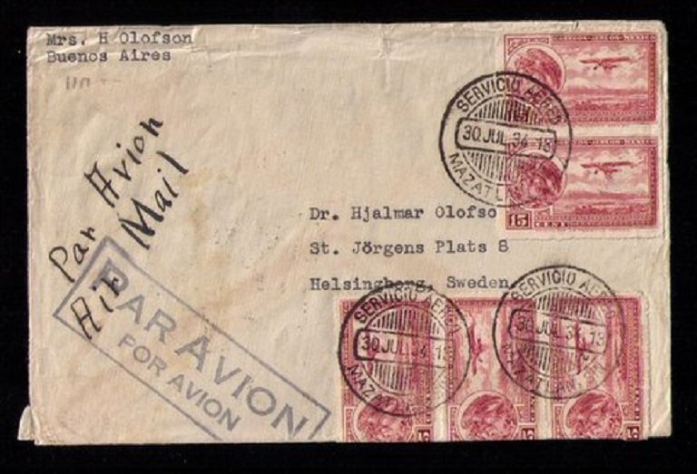 MEXICO Sc C22 PAIRS x2  Postal History Bueno Aires - Airmails - Rouletted F-VF