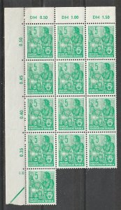 #156 German Democratic Republic Mint OGNH block of 13 w/margin