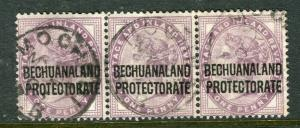 BECHUANALAND; 1897 early classic QV issue fine used 1d. Strip of 3