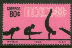 MEXICO 993, 80c Gymnastics 4th Pre-Olympic Set. MINT, NH. VF.