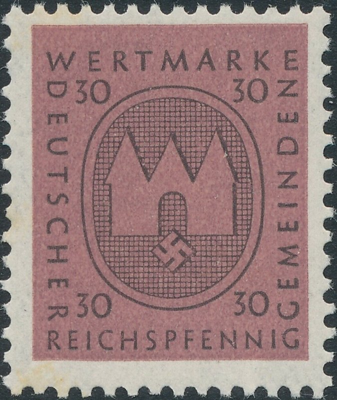 Stamp Germany Revenue WWII 3rd Reich Occupation Wertmarke Local Issue 30 MNH