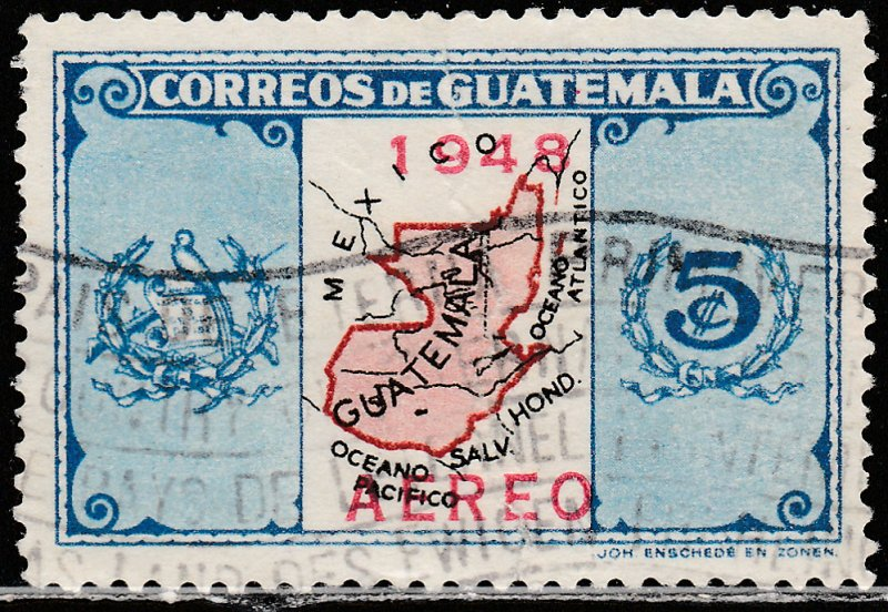 GUATEMALA C157, MAP SURCHARGED FOR AIR MAIL, USED, VF. (399)