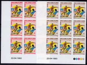 Comoro Islands 1993 Sc#801/804 World Cup USA '94 Block of 9 IMPERFORATED MNH