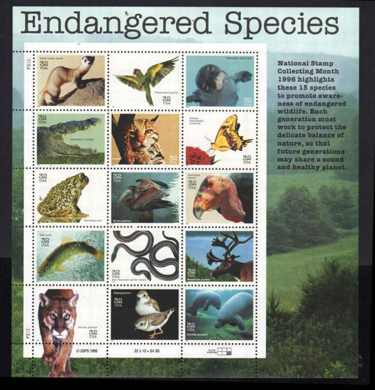 #3105 1995 Endangered Species Sheet of 15  32 Cent (Hco2)