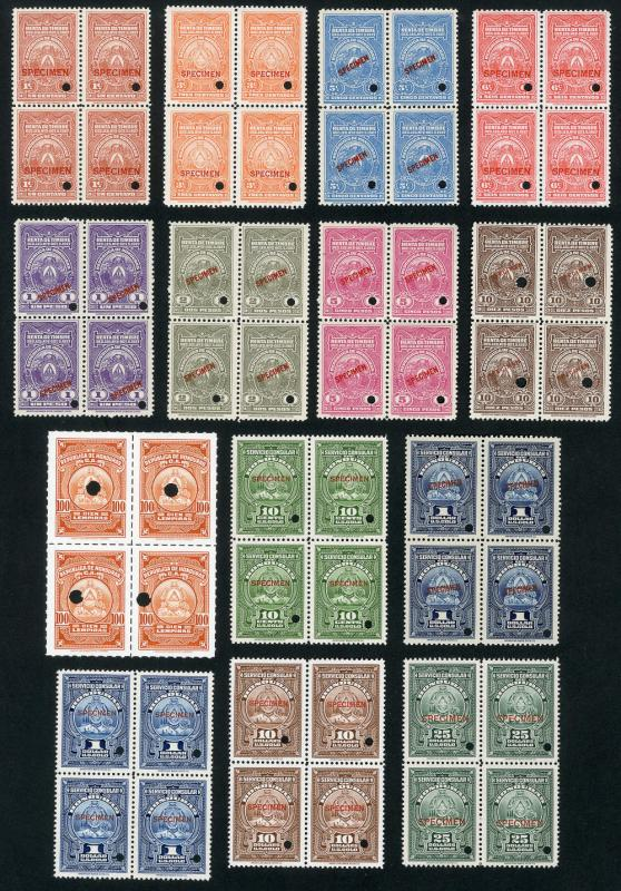 Honduras Stamps 1930's 14x Specimen in Blocks of 4