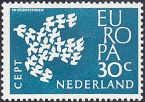 Netherlands # 388 mnh ~ 30¢ Europa - Doves Flying in Dove-shaped Formation