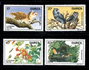 Rwanda 1226-1229, MNH, 1985 Birds,  x22654