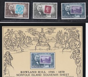 Norfolk Island # 246-248 & 248a, Sir Rowland Hill, Stamp on Stamp, NH, 1/2 Cat.