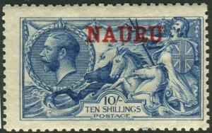 NAURU-1916-23 10/- Deep Bright Blue.  A mounted mint example Sg 23d