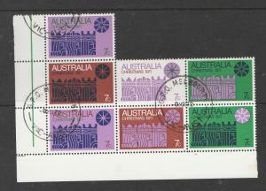 Australia 1971 Xmas VFU/CTO block of 7, Marginal