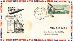 1933, 50c Baby Zep (C-18), Washington, DC, FDC (33893)