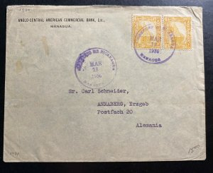 1930 Managua Nicaragua Central Bank Commercial Cover To Annaberg Germany