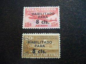 Stamps - Cuba - Scott# C224-C225 - Used Surcharged Set of 2 Stamps