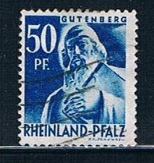 Germany Rheinland Pfalz 6N26: 50pf Guttenberg statue, used, VF