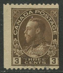 Canada - Scott 134 - Coil Stamp - 1915 - VFU - Horiz.Perf Single 3c stamp