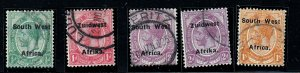 South West Africa - 1924   Ovpt.Setting VI -Used Group  # 29-31,35