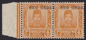 Trengganu Malaya : 1917 Red Cross VARIETY pair CSOSS MNH ** .