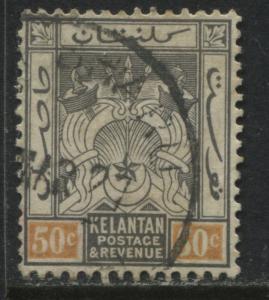 Malaya Kelantan 1921 50 cents black & orange used