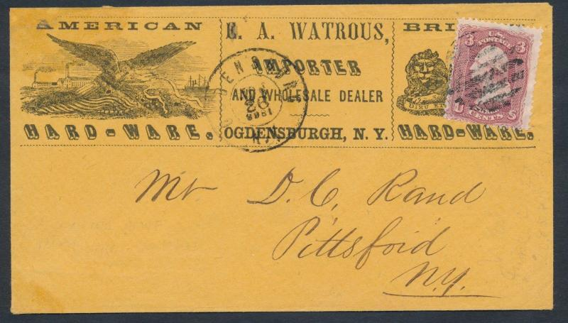 #65 ON AMERICAN HARD-WARE OGDENSBURGH, NY ADVERTISING COVER, VF-XF BP1183