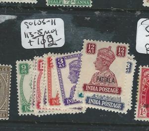 INDIA PATIALA (PP0704B) KGVI SG 103-111, 113-5  MOG