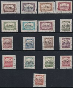 Sc# 3 / 19 1918 Fiume Stamps of Hungary overprinted used set CV $138 (No 20a)