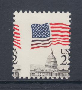 US Sc 2114 MNH. 1985 22c Flag Over Capitol Dome, 2-way MISPERF, VF ERROR