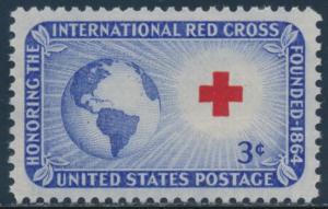 #1016 RED CROSS 3¢ 1952 SUPERB MINT OG NH WITH PSE 98 CERT BU2699
