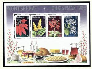 Montserrat 635a MNH 1986 Christmas (Flowers) S/S