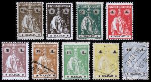 Macao Scott 210-214, 218, 232, 236, 238A (1913-24) Mint/Used H F-VF, CV $29.25 B