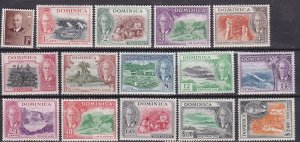 Dominica 1951 Scott # 122-136 Geo VI and island Notables MLH