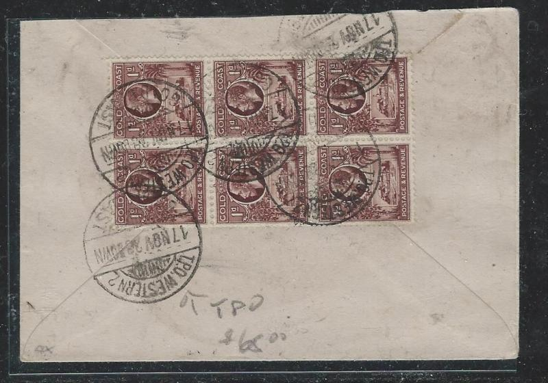GOLD COAST (P0604B) KGV 1 1/2D BL OF 6 TO WESTERN 2 COVER TO ENGLAND