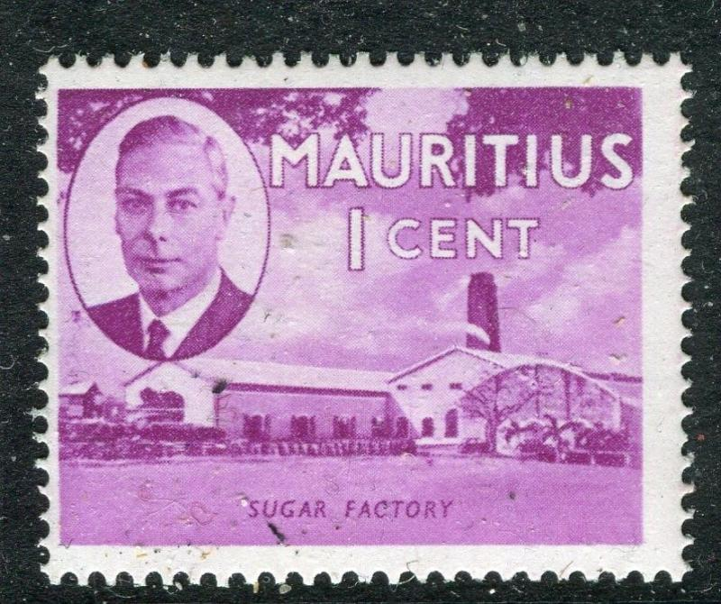 MAURITIUS;  1950 early GVI issue fine Mint hinged 1c. value
