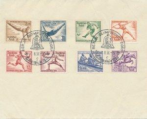 Cover Germany 1936 WWII Nazi Era Olympics Opening Day Cancel Berlin Set U 2