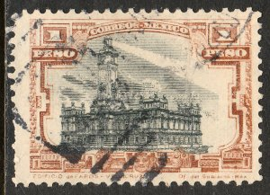 MEXICO 513, $1Peso VERACRUZ LIGHTHOUSE. USED. F-VF.  (366)