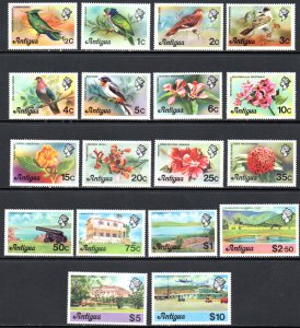 ANTIGUA 405-22 MNH SCV $19.20 BIN $9.60 BIRDS, FLOWERS, PLACES