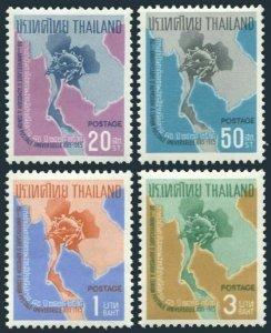 Thailand 436-439,MNH/MLH.Mi 452-455. Thailand admission to UPU-80,1965.Map.