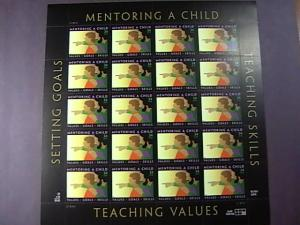 U.S.# 3556-MINT/NEVER HINGED-PANE OF 20---MENTORING A CHILD -2002