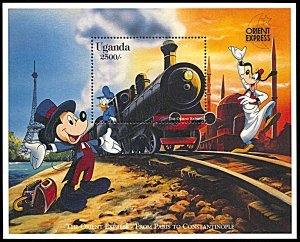 Uganda 1408, MNH, Disney On the Orient Express souvenir sheet