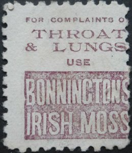 New Zealand 1893 Six Pence with Irish Moss in Brown Purple advert SG 224bf used
